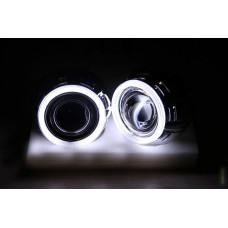 """Комплект бигалогеновых линз с масками и Ангельскими Глазками CCFL MORIMOTO MINI SUPER H1 3.0"""" PRO HALOGEN 55"""